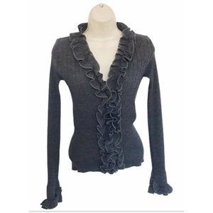 Anne Fontaine Parfaite Gray Ruffle Front Cardigan